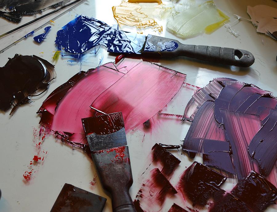 Grafikkurser. Collografi. Plast, papper och Akua Inks.